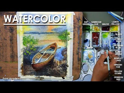 Watercolor Painting : A Composition on Boat Landscape at Sunset
