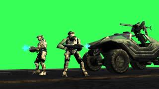 halo green screen Spartans group with car - free green screen effects