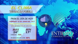 CLIMA DOMINGO 25 DE JUNIO 2017