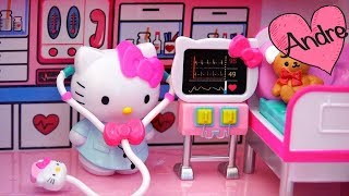 Juguetes de Hello Kitty - Avión y ambulancia para niñas - Kitty va a viajar pero Bear se accidenta