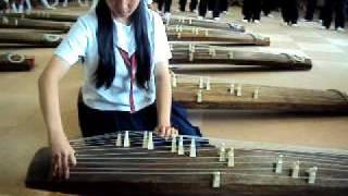 Japan Student playing Koto
