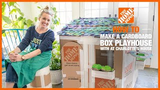 Blogger Charlotte Smith with her deluxe cardboard playhouse