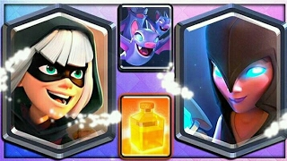Testando as novas cartas do Clash Royale:Bandida,bruxa sombria, morcegos e feitiço de cura