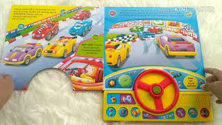 Speedy Race Car Ready, Set, Go! Sound Board Book with Steering Wheel and 11 fun action