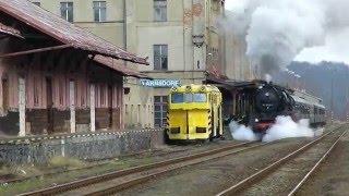 Odjezd parní lokomotivy 50 3648-8 z žel. st. Varnsdorf