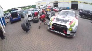 Pit stop practice at the workshop with rjn motorsport Nissan nismo gtr gt3