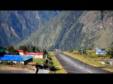Take off from Lukla Airport, Nepal