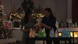 Set of 3 Illuminated Mercury Glass Graduated Christmas Trees on QVC