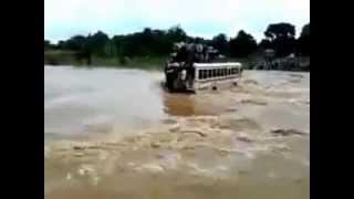 Shocking Video of Kashmir Floods- Crowded Bus Swept Away