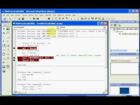 NetCOBOL for Windows Tutorial: Debugging Visual Basic 6 Calling