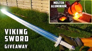 Giant Aluminum Casting during Thunderstorm - Viking Sword ! width=