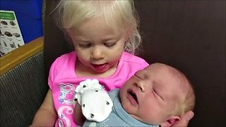 Kids Meeting Babies for the First Time Compilation (2017) width=