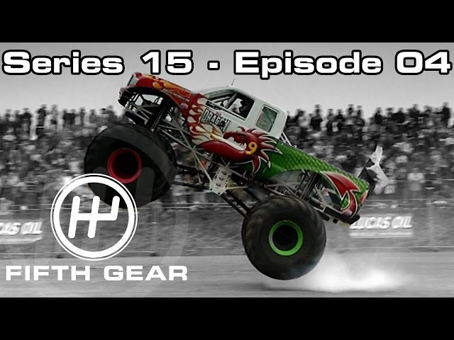 Tiff and Jason race each other in a monster truck