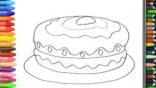 Pagina di colorazione torta | Come disegnare e colora per i bambini