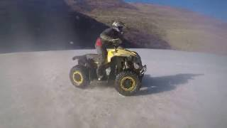 ATV Off Road Constanta - Can Am RENEGADE 800 and CF Moto 450 fast spin on a frozen lake