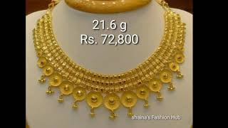 Gold Necklaces designs with weight and price latest collection 2018