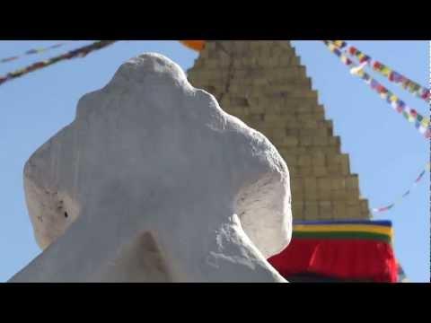 Ringing Bell at Boudhanath Stupa, Kathmandu, Nepal