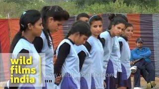 Indian sportswomen play Kho Kho match