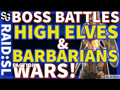 [RAID SHADOW LEGENDS] FACTION WAR BOSSES, MECHANICS AND MY HIGH ELVES + BARBARIAN BATTLES
