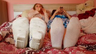 Betty in Double Plaster Leg Casts Part II - Pajama Party!