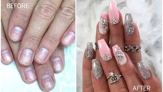 GIRLY AND CLASSY SPARKLY NAILS