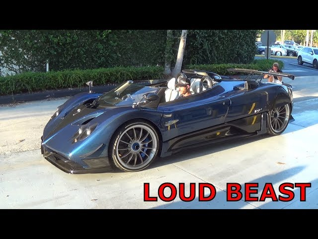 $15 Million LOUD BEAST Pagani Zonda HP Barchetta Start up Driving + REVVING at Pagani Miami