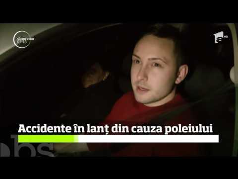 Accidente în lanț din cauza poleiului pe un drum judeţean