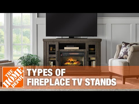 A video about the types of fireplace TV stands.