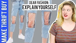 """Clear Knee Mom Jeans"" 