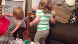 Twin Girls Dancing to Sound FX
