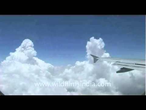 Peaceful flight among the clouds, from Delhi to Kathmandu..