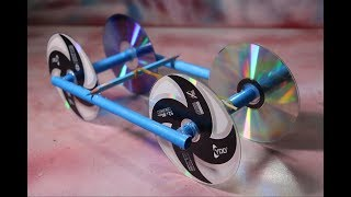 Make Rubber Band Powered Car With Recycle CD Disc - diy kids projects