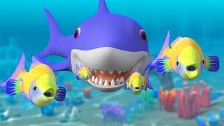 Baby Shark Song Challenge + More Nursery Rhymes & Kids Songs   Sharks Cartoon