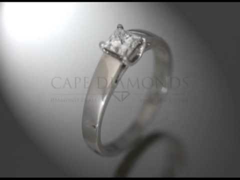 Princess cut,diamond,4 claws,platinum,engagement ring