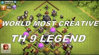 Clash of Clans :TH 9 MOST CREATIVE LEGEND WITH RUSH BASE  || -49 TROPHIES LOSE |