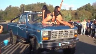 Sexy hot girls washing truck