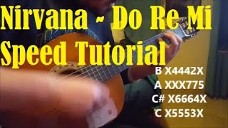 How to play Do Re Mi by Nirvana, guitar lesson (Speed Tutorial)