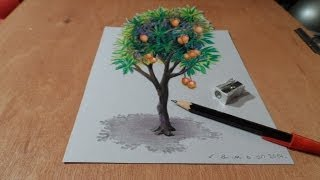 Drawing Tree, How to Draw 3D Mango Tree