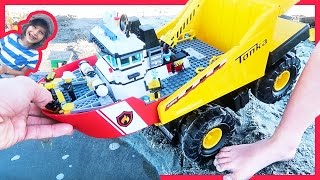 Dump Truck Launches Lego Fire Boat and Time Lapse
