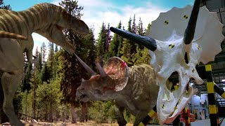 Watch a T-rex and Triceratops fight
