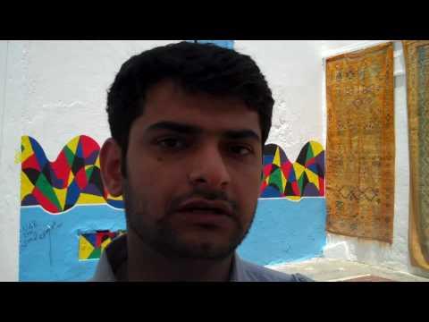 Abdul Rahman Al Ma'aini talks about his mural at the Assilah Festival 2010