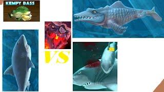 #PyroShark Vs Megalodon , Kempy bass & Mr.Snappy - Hungry Shark Evolution