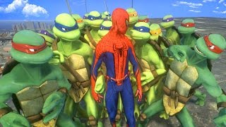 Spiderman vs Teenage Mutant Ninja Turtles ARMY - EPIC BATTLE