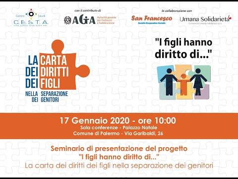 """(VIDEO) A Palermo """"I figli hanno diritto di..."""" nella separazione dei genitori, presentato Progetto"""