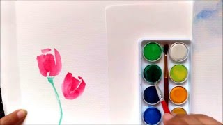 Easy tutorial how to paint tulips using watercolor for beginners