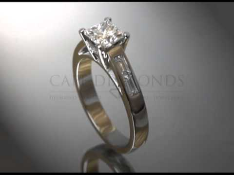 Simple side stone ring,cushion white diamond,2 side diamonds each side,platinum,engagement ring