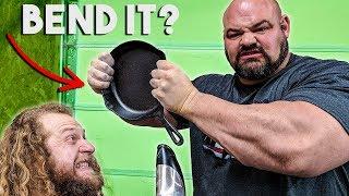 450LB MAN BENDS CAST IRON PAN (Frying Pan Fold?)