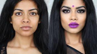 Desi/Indian/Bangladeshi Makeup: Smokey Eyes +Purple Lips width=