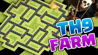 """Clash of Clans"" - New 2016 Farming Town Hall 9 Base! CoC New Update Epic TH9 Loot Base!"