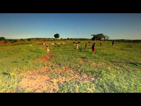 Youth playing soccer on the fields in Kenya.